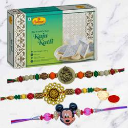 Mickey Rakhi Set with Kaju Katli