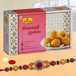 Colored Stone Rakhi with Boondi Laddoo