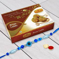 Blue Eyed Rakhi with Besan Laddoo