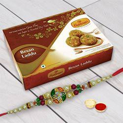 Rakhi wishes with Besan Laddu