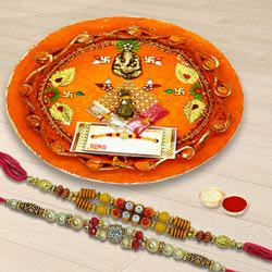 Rakhi pair with Thali