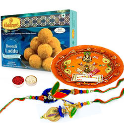Bhaiya Bhabhi Thali Set with Boondi Laddoo