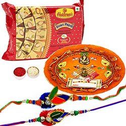 Peacock Thali Rakhi wishes