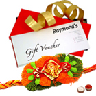 Fantastic Rakhi Special Gift Card from Raymond with Free Rakhi, Roli Tika and Chawal