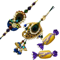 Impressive Raksha Bandhan Gift of 1 Zardozi Rakhi and One Chocolate with Free Roli and Tilak for your Beloved Brother<br>