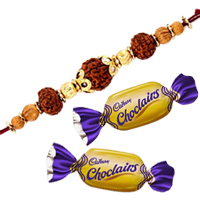 Traditional Raksha Bandhan Gift of One Rudraksha Rakhi and Two Yummy Chocolates along with Free Roli and Tilak