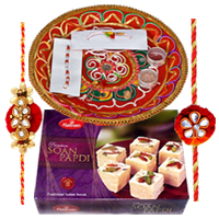 Delightful Present of Haldirams Soan Papdi, Rakhi Thali and One Fancy Rakhi with Free Roli Tilak for your Caring Brother<br>