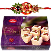 Mesmerizing Rakhi Special Gift of Haldirams Soan Papdi and 1 Rakhi with Free Roli and Tilak for your Dear Brother<br>