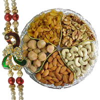 Ravishing Gift Set of Assorted Dry Fruits and One Designer Rakhi with Free Roli and Tilak