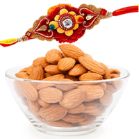 Wonderful Gift Pack of Almonds and Designer Rakhis with Free Roli and Tilak for your Dear Brother<br>