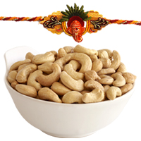 Popular Raksha Bandhan Gift of Cashew Nuts and One Fancy Rakhi with Free Roli and Tilak filled with Happiness<br>