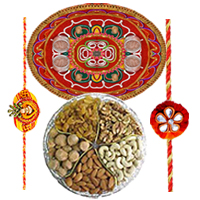 Attractive Rakhi Special Gift of Rakhi Thali with 2 Fancy Rakhi and Assorted Dry Fruits (Cashew and Raisin) Gift Set with Free Roli and Tilak