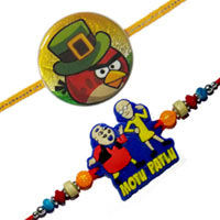 Superb Raksha Bandhan Special Gift of Angry Bird and Winnie the Pooh Rakhi Pair with Free Roli and Tilak for your Loving Brother<br>