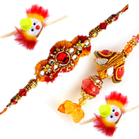 Traditional Rakhi Special Gift of Family Rakhi Set with Free Roli and Tilak
