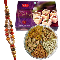 Auspicious Display of 2 Designer Rakhi with Yummy Soan Papri and Mixed Dry Fruits along with free Roli and Tikka for Rakhi Celebration