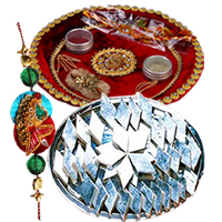 Charismatic Arrangement of Rakhi Thali, Kaju Katli and One Rakhi along with free Roli and Tikka for Special Rakhi Festival<br>