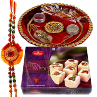 Ravishing Composition of Rakhi Thali, Soan Papri and One Rakhi along with free Roli and Tikka for your Dear Brother on Raksha Bandhan<br><br>
