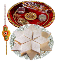 Delectable Gift Set of Rakhi Thali with Yummy Badam Katli and One Rakhi along with free Roli and Tikka for this Raksha Bandhan<br>