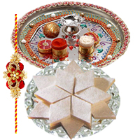 Fabulous Collection of Yummy Badam Katli, Rakhi Thali and Rakhi along with free Roli and Tikka for Sacred Raksha Bandhan Celebration<br>