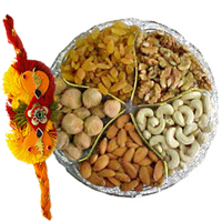 Fascinating Rakhi with Assorted Dry Fruits and free Roli Tikka for the Occasion of Raksha Bandhan<br>