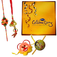 Lovely Arrangement of Cadbury Celebration Pack with Family Rakhi Set along with free Roli and Tikka for the Occasion of Raksha Bandhan