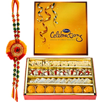 Astonishing Raksha Bandhan Delight of Cadbury Celebration Pack and Delicious Assorted Sweets from Haldirams with Rakhi and free Roli Tikka