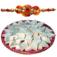 Mouth-Watering Badam Katli from Haldiram along with Rakhi and free Roli and Tikka for Sacred Raksha Bandhan Celebration<br>