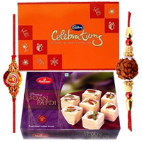 Fabulous Raksha Bandhan Special Gift of 1 Rakhi with Soan Papdi and Cadbury Celebration Pack along with free Roli and Tikka