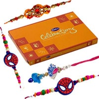 Mind-Blowing Family Rakhi Gift Set for Bahiya Bhabhi and Kids and Cadbury Celebration Pack along with free Roli and Tikka filled with Happiness<br>