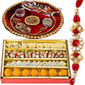 200 Gms Assorted Sweets with Rakhi Thali and 1 Rakhi