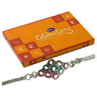 Delicious Cadbury Celebration Pack and Silver Plated Rakhi along with free Roli and Tikka for the Occasion of Raksha Bandhan<br>