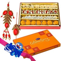 Admirable Pair Rakhi Set for Bahiya Bhabhi and 1 Kids Rakhi with Mixed Sweets from Haldiram and Cadbury Celebration Pack along with free Roli and Tikka	<br>