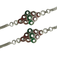 Admirable 2 pc. Silver Plated Rakhi along with free Roli and Tikka for Special Rakhi Festival<br>