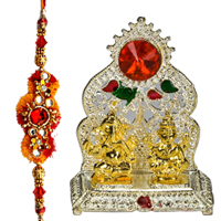 Exclusive Compilation of Rakhi with Silver Plated Mandap and Golden Plated Lakshmi Ganesha Idol along with free Roli and Tikka for Special Rakhi Festival<br>