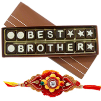 Irresistible Best Brother Chocolate Gift Pack and One Designer American Diamond Rakhi along with free Roli and Tikka for Sacred Raksha Bandhan Celebration<br>