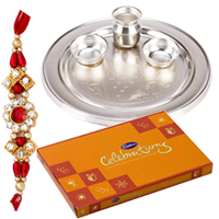Fantastic Rakhi with Silver Plated Thali and Cadbury Celebration Pack along with free Roli and Tikka for Sacred Raksha Bandhan Celebration<br>