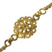 Fashionable Rakhi Special Gift of Designer Gold Plated Rakhi along with free Roli and Tikka
