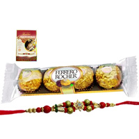 A 4 pcs Ferrero Rocher Chocolate Pack with Rakhi