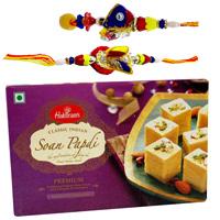 Bhaiya Bhabhi Rakhi Set with Haldirams Soan Papdi