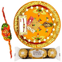 Relishing  Ferreo Rocher Chocolates and a special Pooja Thali with a Free Rakhi