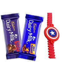 Captain America Rakhi with 2 pcs Cadburys Chocolates