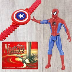 Wonderful Selection of Marvel Avengers Spiderman Action Figurine for Little Ones and Kids Rakhi, Cadbury Nutties
