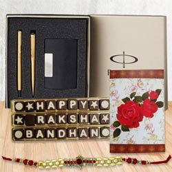 Parker Pen Set, Golden Bracelet Rakhi n 27 pcs Home Made Chocolates