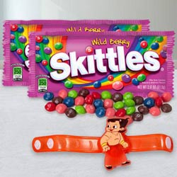 Amazing Chota Bheem Rakhi with Skittles Chocolates