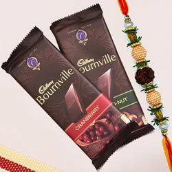 Rudraksha Rakhi with 2 pcs Cadbury Bournville Chocolates