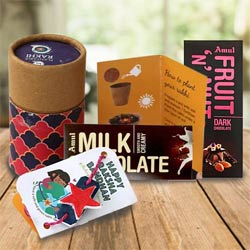 Plantable Tulsi Rakhi N Twin Amul Chocolates Bar