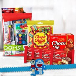 Marvelous Doms Painting Kit with Chocolates n Kids Rakhi