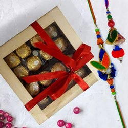 Delicious Ferrero Rocher in Wooden Box with Rakhi
