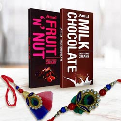Bhaiya Bhabhi Rakhi with Two Amul Chocolates Bar