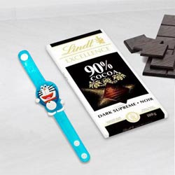 Remarkable Doraemon Rakhi with Lindt Excellence Chocolate